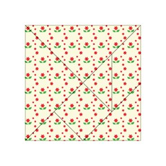 Flower Floral Sunflower Rose Star Red Green Acrylic Tangram Puzzle (4  X 4 ) by Mariart