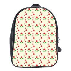 Flower Floral Sunflower Rose Star Red Green School Bags (xl)  by Mariart
