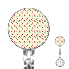 Flower Floral Sunflower Rose Star Red Green Stainless Steel Nurses Watch by Mariart