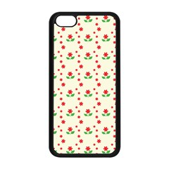 Flower Floral Sunflower Rose Star Red Green Apple Iphone 5c Seamless Case (black) by Mariart