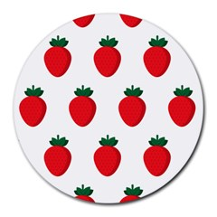 Fruit Strawberries Red Green Round Mousepads by Mariart