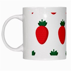 Fruit Strawberries Red Green White Mugs by Mariart
