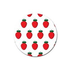 Fruit Strawberries Red Green Magnet 3  (round) by Mariart