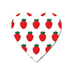 Fruit Strawberries Red Green Heart Magnet by Mariart