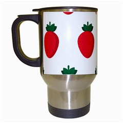 Fruit Strawberries Red Green Travel Mugs (white) by Mariart
