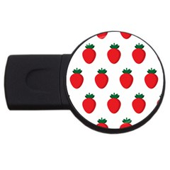Fruit Strawberries Red Green Usb Flash Drive Round (4 Gb) by Mariart