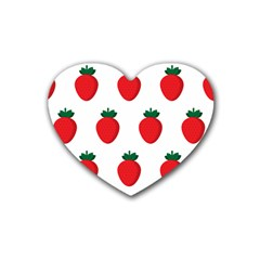 Fruit Strawberries Red Green Rubber Coaster (heart)  by Mariart