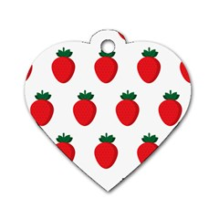 Fruit Strawberries Red Green Dog Tag Heart (one Side) by Mariart