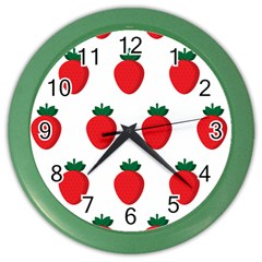 Fruit Strawberries Red Green Color Wall Clocks by Mariart