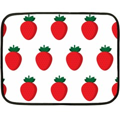 Fruit Strawberries Red Green Fleece Blanket (mini) by Mariart