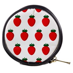 Fruit Strawberries Red Green Mini Makeup Bags by Mariart