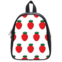 Fruit Strawberries Red Green School Bags (small)  by Mariart