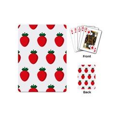 Fruit Strawberries Red Green Playing Cards (mini)  by Mariart