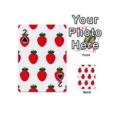 Fruit Strawberries Red Green Playing Cards 54 (mini)  by Mariart