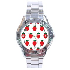 Fruit Strawberries Red Green Stainless Steel Analogue Watch by Mariart