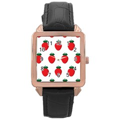 Fruit Strawberries Red Green Rose Gold Leather Watch  by Mariart