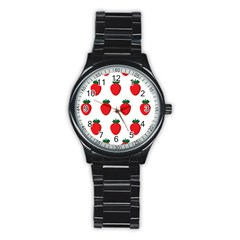 Fruit Strawberries Red Green Stainless Steel Round Watch by Mariart