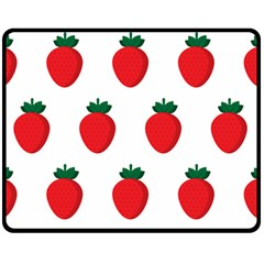 Fruit Strawberries Red Green Double Sided Fleece Blanket (medium)  by Mariart