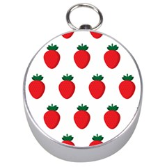Fruit Strawberries Red Green Silver Compasses by Mariart