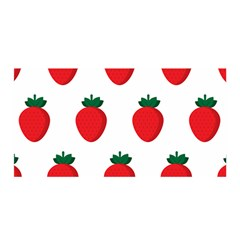 Fruit Strawberries Red Green Satin Wrap by Mariart