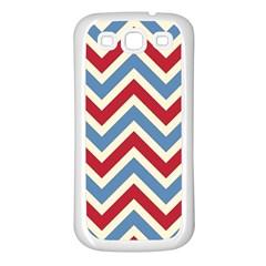 Zig Zags Pattern Samsung Galaxy S3 Back Case (white) by Valentinaart
