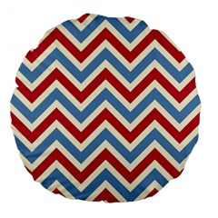 Zig Zags Pattern Large 18  Premium Flano Round Cushions by Valentinaart