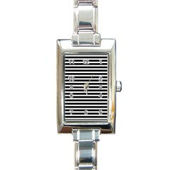 Horizontal Stripes Black Rectangle Italian Charm Watch by Mariart