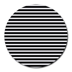 Horizontal Stripes Black Round Mousepads by Mariart