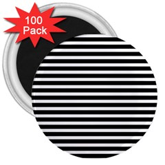 Horizontal Stripes Black 3  Magnets (100 Pack) by Mariart