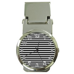 Horizontal Stripes Black Money Clip Watches by Mariart