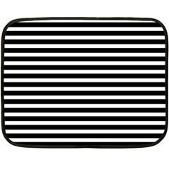 Horizontal Stripes Black Double Sided Fleece Blanket (mini)  by Mariart