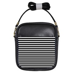 Horizontal Stripes Black Girls Sling Bags by Mariart