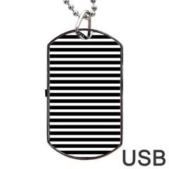 Horizontal Stripes Black Dog Tag Usb Flash (two Sides) by Mariart
