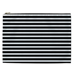 Horizontal Stripes Black Cosmetic Bag (xxl)  by Mariart