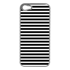 Horizontal Stripes Black Apple Iphone 5 Case (silver) by Mariart