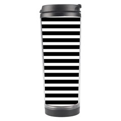 Horizontal Stripes Black Travel Tumbler by Mariart