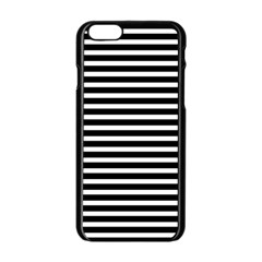 Horizontal Stripes Black Apple Iphone 6/6s Black Enamel Case by Mariart