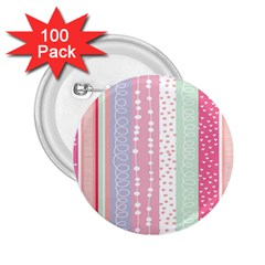 Heart Love Valentine Polka Dot Pink Blue Grey Purple Red 2 25  Buttons (100 Pack)  by Mariart