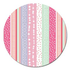 Heart Love Valentine Polka Dot Pink Blue Grey Purple Red Magnet 5  (round) by Mariart