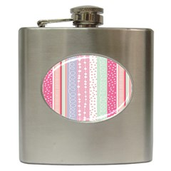 Heart Love Valentine Polka Dot Pink Blue Grey Purple Red Hip Flask (6 Oz) by Mariart