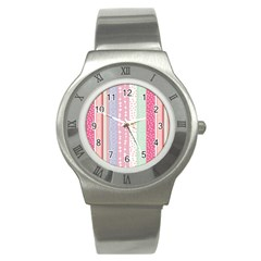 Heart Love Valentine Polka Dot Pink Blue Grey Purple Red Stainless Steel Watch by Mariart