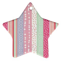 Heart Love Valentine Polka Dot Pink Blue Grey Purple Red Star Ornament (two Sides) by Mariart