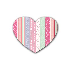 Heart Love Valentine Polka Dot Pink Blue Grey Purple Red Heart Coaster (4 Pack)  by Mariart