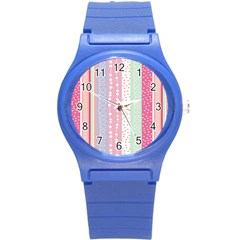 Heart Love Valentine Polka Dot Pink Blue Grey Purple Red Round Plastic Sport Watch (s) by Mariart