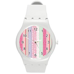 Heart Love Valentine Polka Dot Pink Blue Grey Purple Red Round Plastic Sport Watch (m) by Mariart