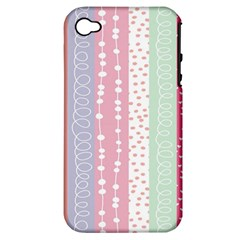 Heart Love Valentine Polka Dot Pink Blue Grey Purple Red Apple Iphone 4/4s Hardshell Case (pc+silicone) by Mariart