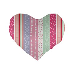 Heart Love Valentine Polka Dot Pink Blue Grey Purple Red Standard 16  Premium Heart Shape Cushions by Mariart