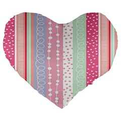 Heart Love Valentine Polka Dot Pink Blue Grey Purple Red Large 19  Premium Heart Shape Cushions by Mariart