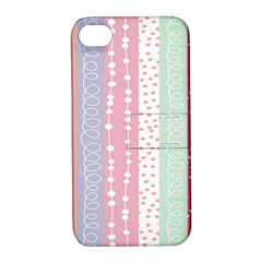 Heart Love Valentine Polka Dot Pink Blue Grey Purple Red Apple Iphone 4/4s Hardshell Case With Stand by Mariart