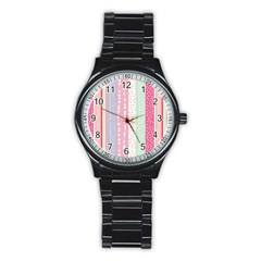 Heart Love Valentine Polka Dot Pink Blue Grey Purple Red Stainless Steel Round Watch by Mariart
